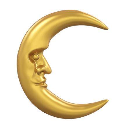 Golden Crescent Moon Isolated 写真素材 - 122596316