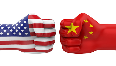 USA vs China Conflict Concept Isolated