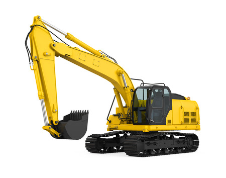 Yellow Excavator Isolated Stock Photo