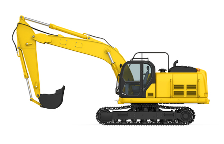 Yellow Excavator Isolated Imagens