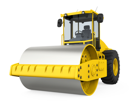 Yellow Road Roller Isolated Stock Photo