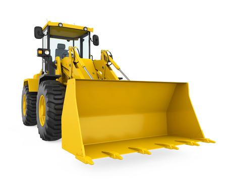 Excavadora cargadora de ruedas aislada