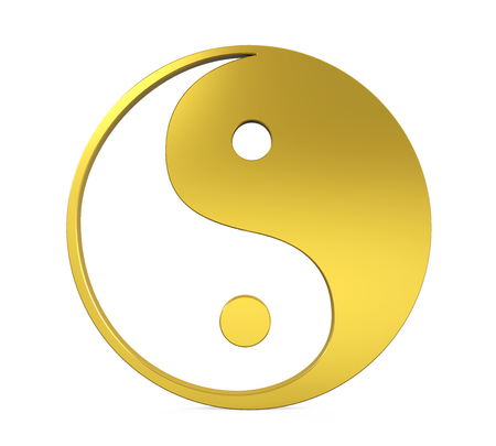 Golden Yin and Yang Symbol Isolated Stock Photo