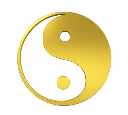 Symbole d'or Yin et Yang isolé