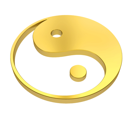 Golden Yin and Yang Symbol Isolated Reklamní fotografie