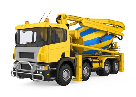 Yellow Concrete Mixer Truck Isolated Stock Photo