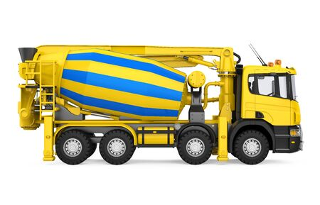 Yellow Concrete Mixer Truck Isolated 写真素材
