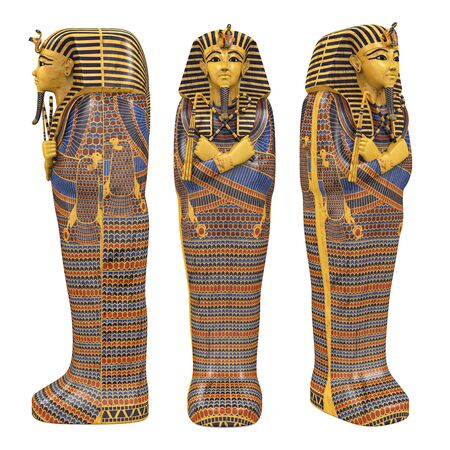 Egyptian Pharaoh Mummy Coffin Isolated