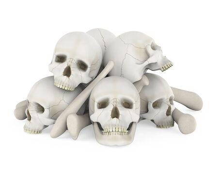 Pile of Skulls Isolated
