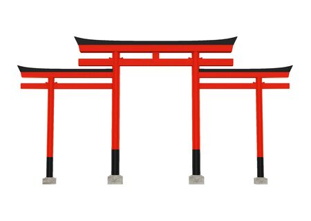 Torii Traditional Japanese Gate Isolated Stock Photo