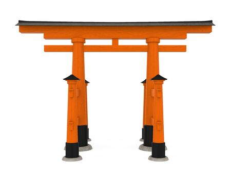 Torii Traditional Japanese Gate Isolated Stock Photo