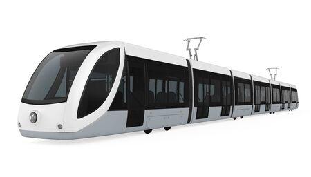 Moderne Straßenbahn isoliert