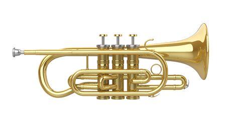 Cornet Koperen Instrument Geïsoleerd