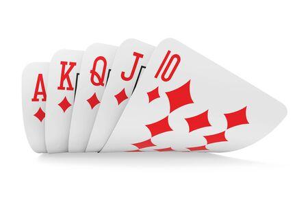 Royal Flush Playing Cards Isolated Фото со стока