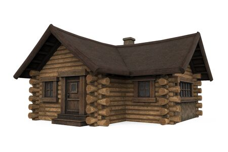 Wooden Log Cabin House Isolated Stockfoto