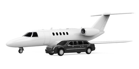 Luxury Limousine Car and Private Jet Isolated Фото со стока