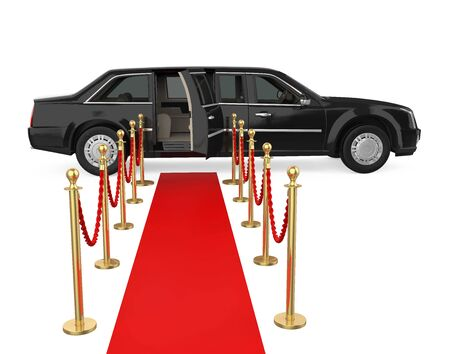 Limousine Car with a Red Carpet Isolated