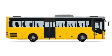 Yellow City Bus Isolated Stock fotó