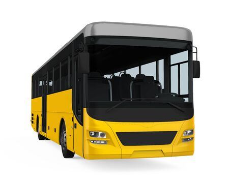 Yellow City Bus Isolated 스톡 콘텐츠
