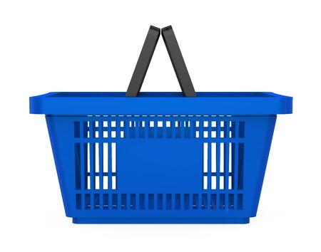 Blue Shopping Basket Isolated Stock Photo