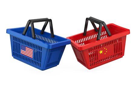Winkelmandjes met vlaggen van de VS en China. Handelsoorlog Concept
