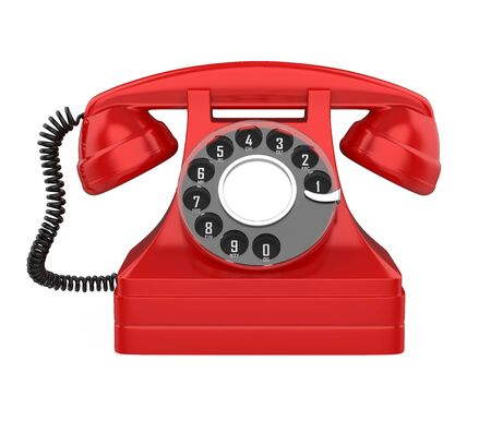 Red Vintage Telephone Isolated