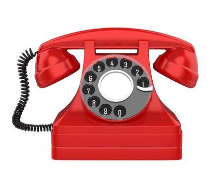 Teléfono rojo Vintage aislado