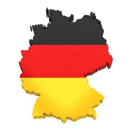 Deutsche Karte mit Flagge isoliert Standard-Bild
