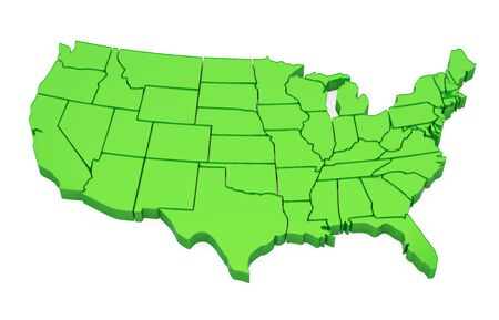Green United States of America Map Isolated Фото со стока