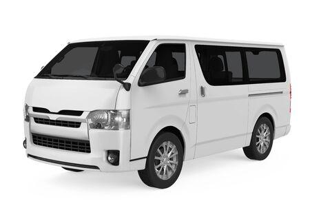 White Minibus Isolated
