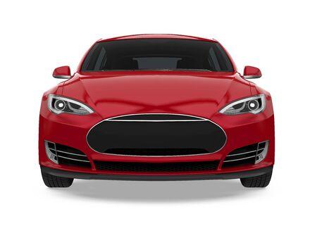 Czerwony samochód sedan na białym tle