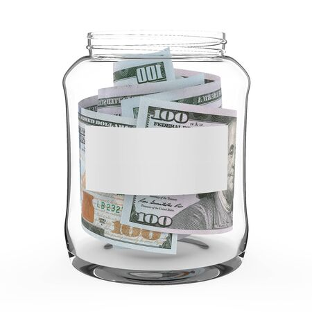 Money Jar with Blank Label Isolated