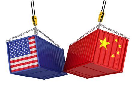 Frachtbehälter Vereinigter Staaten und Chinas lokalisiert. Handelskrieg Konzept