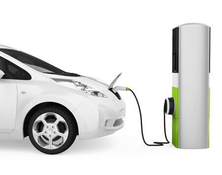 Electric Car in Charging Station Isolated