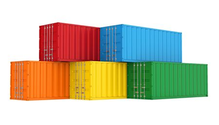 Stack of Cargo Containers Isolated Banco de Imagens