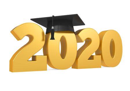 Chapeau de remise des diplômes 2020 isolé Banque d'images