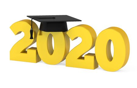 2020 Graduation Cap Isolated Stockfoto