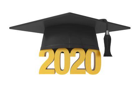 Czapka ukończenia szkoły 2020 na białym tle