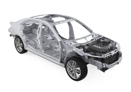 Unibody Car Chassis Frame Isolated Stock Photo
