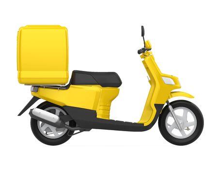 Scatola di consegna moto gialla isolata