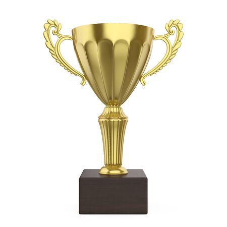 Gouden Trofee Cup Geïsoleerd Stockfoto