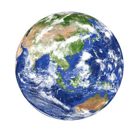 Planeta Ziemia Azja widok na białym tle Zdjęcie Seryjne