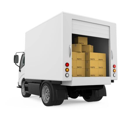 Delivery Van with Cardboard Boxes Isolated