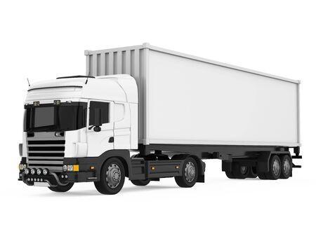 Ciężarówka kontenerowa na białym tle