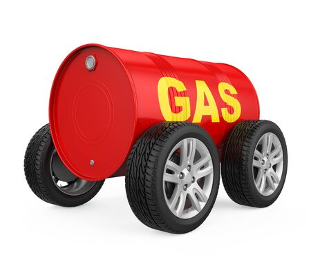 Gas Oil Drum with Wheels Isolated