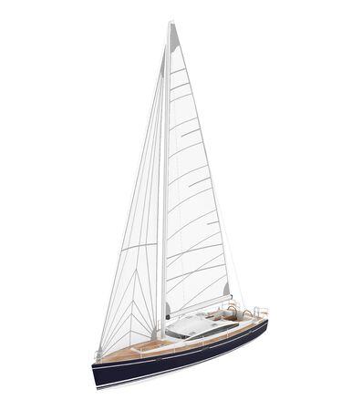 Sail Boat Isolated Stockfoto