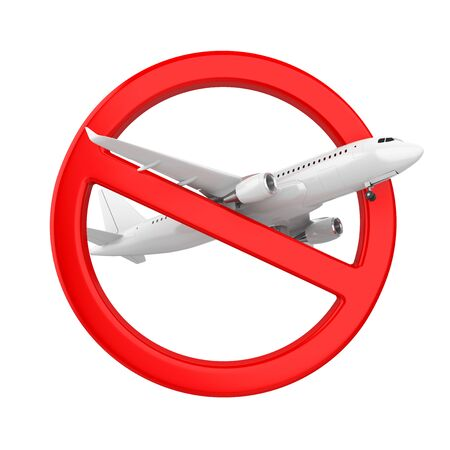 Airplane with Forbidden Sign Isolated (Travel Ban Concept) Foto de archivo