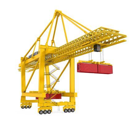 Container Gantry Crane Isolated Stockfoto
