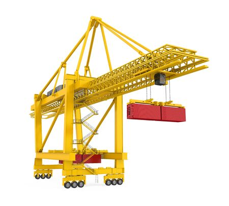 Container Gantry Crane Isolated Stock Photo