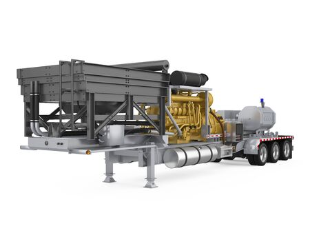 Fracturing Unit Semi-Trailer Isolated Standard-Bild